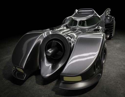 The batmobile: front view created with Blender and Cycles