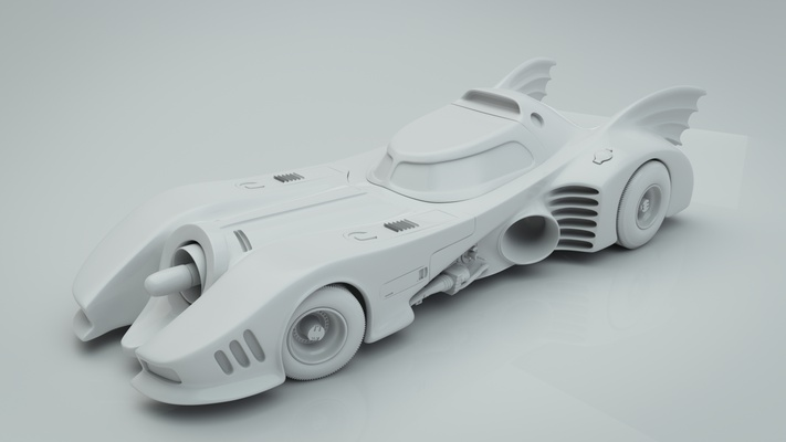 The batmobile: plastic view created with Blender and Cycles