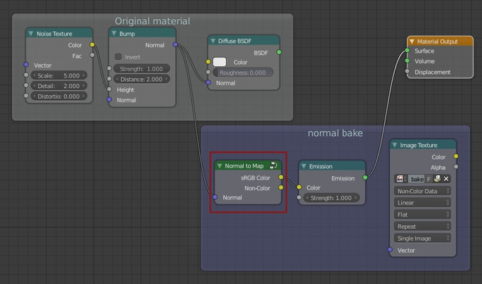 Material using the normal to map node