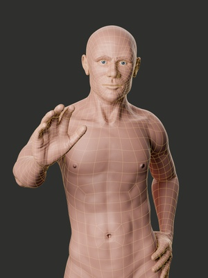 male character topology rendered with Blender and Cycles