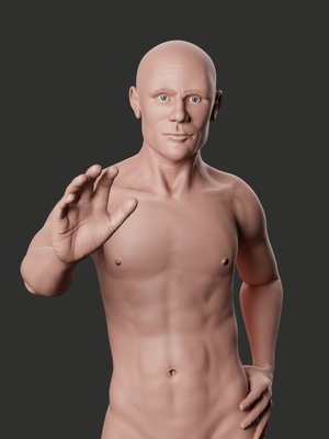 male character rendered with Blender and Cycles