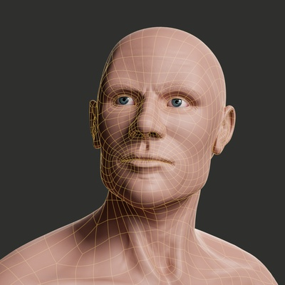 human face topology rendered with Blender and Cycles