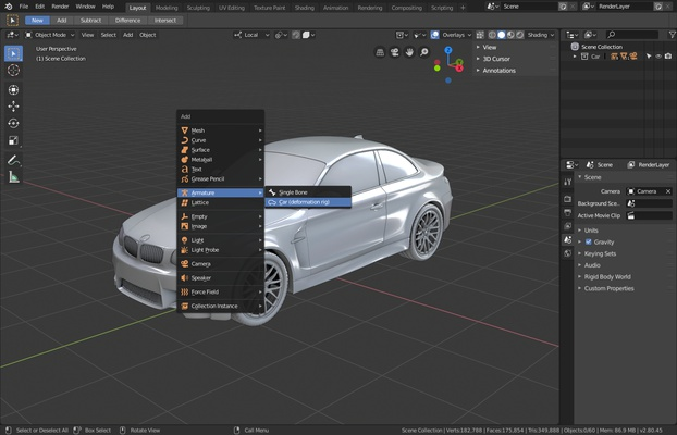 Add menu to create a new car deformation rig